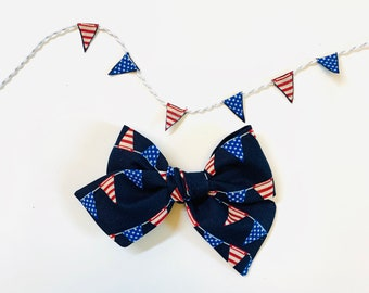 Baby bows, 4th of July bows, stars and stripes banner print, nylon headbands or hair clips