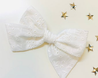 White eyelet Bow, schoolgirl Style, baby headband or hair clip, knot bow