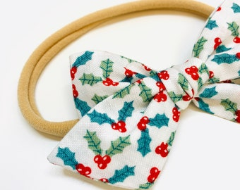 Christmas Bow, baby bow, Christmas baby Bows, Nylon Headband, Hair Clips, Vanaguelite