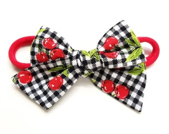 Baby Bows, Cherry print, Nylon Headbands or Hair Clip