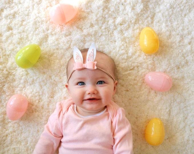 Featured listing image: Mini Bunny Ears, Easter rabbit ears, Blush, alligator clip or nylon headband, Photo props, vanaguelite