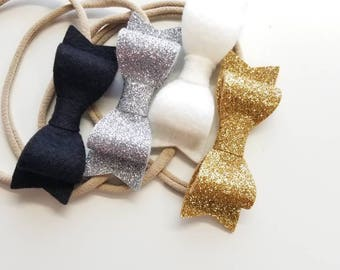 Gold and silver baby bows, baby headbands, white and black bows, Set of 4  Bows 3 inches
