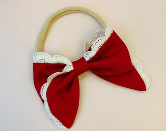 Valentine's Day baby Bow, Nylon Headbands or Hair Clip, Red Lace Bow