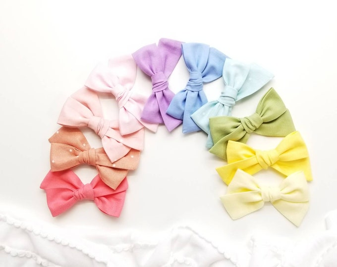 Featured listing image: Baby Bows, nylon headbands, Rainbow baby girl headbands, Pastel Colors hair accessories, baby headbands or hair clips, 3.25 inches