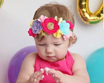 Rainbow Flower Crown, Floral Headband, Rainbow colors felt flowers, hair accessories, baby headband, first birthday, vanaguelite.