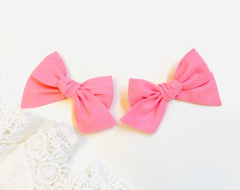 Baby Bows, pigtail set, Rainbow baby girl, hair clips, Hot and Pastel colors, 3 inches, set of 2, Vanaguelite