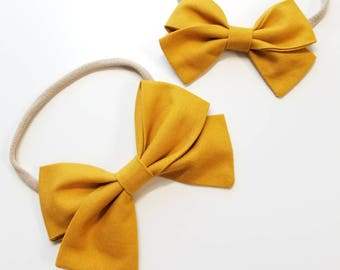 Solid Mustard, Handmade baby Bow, Nylon Headband or Hair Clip