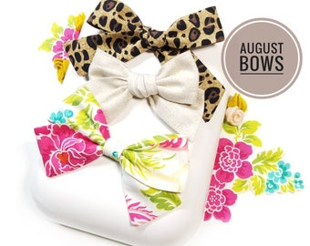 August Bows Set, Baby girl bows, Nylon Headbands or Hair Clips, Limited edition, vanaguelite, hair accessories.