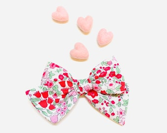 Valentine's Day Baby Bow, Pink floral, Nylon Headbands or Hair Clip, school girl bow