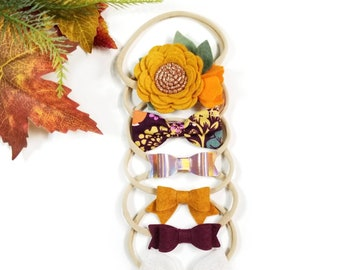 The Pumpkin Spice Set, Baby nylon headbands, Baby bows, floral headband, Mustard, Orange Pumpkin, fall colors