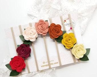 Flower rainbow, nylon headbands, felt flowers rust colors, baby floral, hair accessories, vanaguelite, set of 7