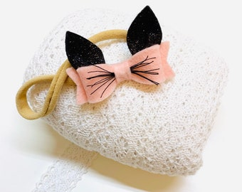 Mini Kittens Baby headbands, cat ears, alligator clip or nylon headband, baby bows