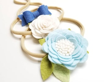 Ice Blue, baby Flower, baby headband, baby Bows, hair accessories, vanaguelite, newborn headbands, nylon headbands.