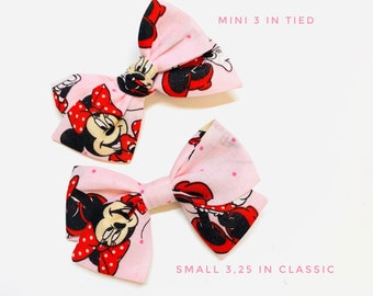Baby Bows, Pink Minnie print, Nylon Headbands or Hair Clip