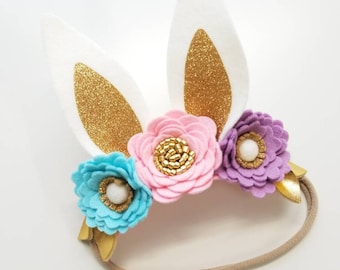 Bunny Ears, Flower crown, Easter Photo props, Eastern, nylon headband, vanaguelite