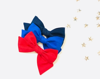 Baby bows, 4th of July bows, Solid colors, Red, Navy or Royale blue, nylon headbands or hair clips