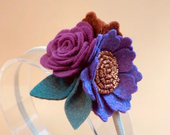 Fall Floral Headband or Clip, Mulberry - Cinnamon Mini Cluster, Felt Flowers, baby girl hair accessories