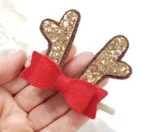 Baby Reindeer headband, mini Antlers, Christmas baby bow, alligator clip or nylon headband, Bright red or Custom colors, vanaguelite