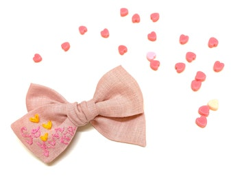Valentine's Day baby Bow, Nylon Headbands or Hair Clip, So KISS me embroidered letters