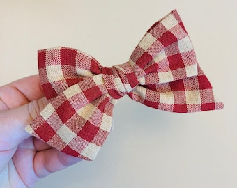 Baby girl Bow, Plaid Bow Rust and Beige, Nylon Headbands or Hair Clip, newborn headbands, Schoolgirl Bows