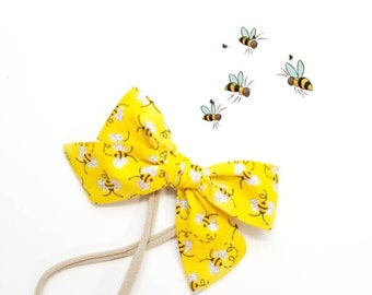 Baby bows, The HoneyBee Bow, Handmade Bow on soft Nylon Headband or Hair Clip