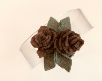 Pinecone  Headband or Hair Clip, Fall bows, Felt Flowers, baby girl hair accessories