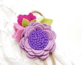 Floral headband, Violet Fields, baby girl felt flower, baby accessories, vanaguelite, felt flower, baby nylon headbands