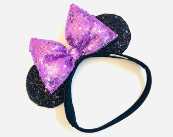 Baby Mouse Ears, black and purple ears, mouse Ears, Soft Base, baby headbands, mermaid sequin bow, sparkly faux leather