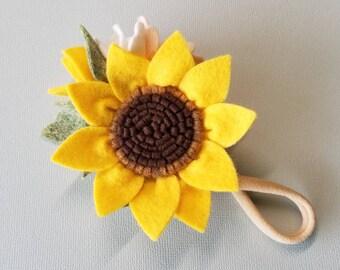 Sunflower Crown, Baby Headband, wool felt flowers, baby girl hair accessories, baby headbands