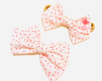 Baby Bow, Pink hearts, Nylon Headbands or Hair Clip, Valentine's Day, school girl bow