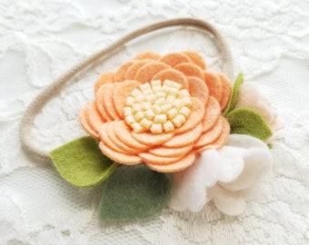 Peaches cream, floral headband, baby headbands, nylon headbands, felt flower, baby gift, vanaguelite.