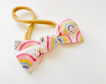Baby girl Bow, Rainbow Petal Mini Knotted Bow, Nylon Headbands or Hair Clip