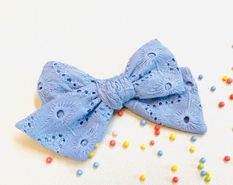 Baby girl Bow, Embroidered fabrics, Blue Bow, Nylon Headbands or Hair Clip, newborn headbands, Schoolgirl Bows