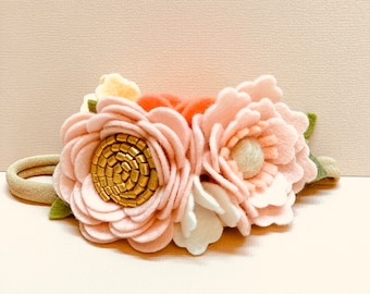 Felt Flower Headband, Dainty Floral Crown, blush, pink, first birthday hair accessories, baby headband, vanaguelite