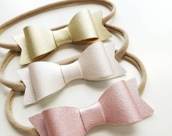 Baby headbands, Baby bows, Big bows 3 inches, dainty vegan leather pearly set, vanaguelite