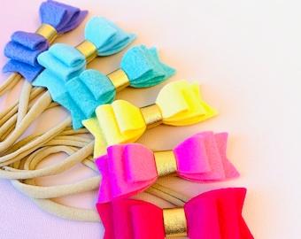 Rainbow Baby Bows, Nylon Headbands or Hair clips, 3 inches, handmade in the USA