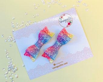 Rainbow Baby Bow, Rainbow sparkly, Nylon Headbands or hair clips, Size 3 inches