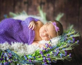 Newborn Bows, Baby Mini Bow Nylon Headband or alligator clip, Wool felt Bow 2 inches
