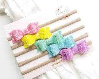 Baby bows and headbands, Sparkly Rainbow Set, Nylon Headbands, 2 inches, Vanaguelite.