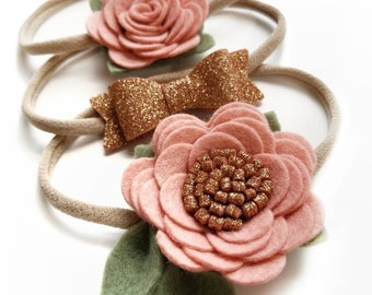 Baby headbands, Blush and Rose Gold sparkly, Floral headband, vanaguelite, baby bows