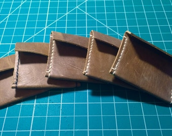 Soft supple Tan Leather EDC Lucky Piece/Coin/State Carry Pouch