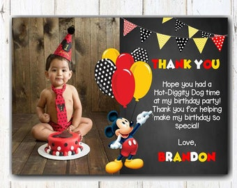 Mickey Mouse Thank You Card First Birthday 1st Printable