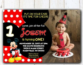 Mickey Mouse 1st Birthday Invitation Etsy
