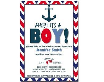 Ahoy Its A Boy   Nautical Baby Shower   Nautical Boy Shower   Baby Shower Invitation   Nautical Boy Baby Shower Invitation   Printable