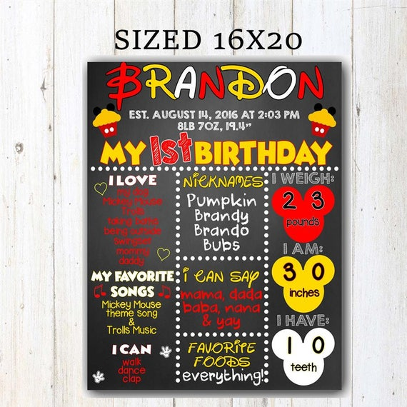Mickey Mouse First Birthday Chalkboard Mickey Mouse Birthday Sign Mickey Mouse Chalkboard Poster Mickey Mouse 1st Birthday Sign Printable