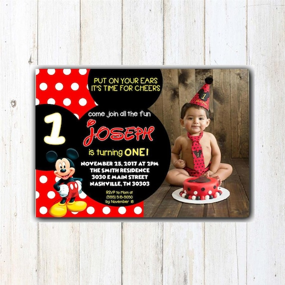 Mickey Birthday Invitation First