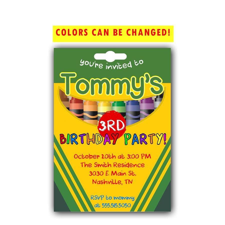 Invitación del cumpleaños del creyón Invitación de | Etsy