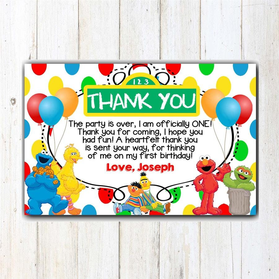 Sesame Street Thank You Card Sesame Street Birthday Thank You   Etsy