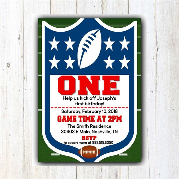 Football First Birthday Invitation NFL