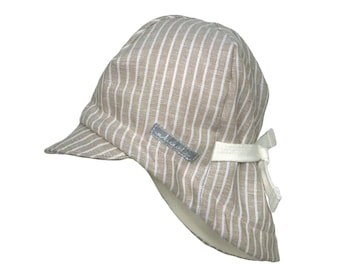 86d62634 Summer hat baby, kids * beige linen striped * sun hat